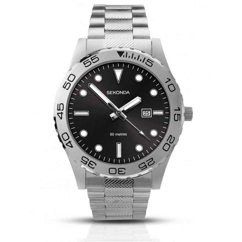 9864afe27332 Reloj muy atractivo con aire deportivo con correa de acero inoxidable y  movimiento de cuarzo de la compañía Sekonda del Reino Unido