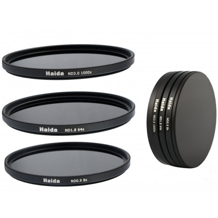 3 Filtros ND Haida 58mm Densidad neutra ND0.9 (8x) ND1.8 (64x) ND3.0 (1000x)